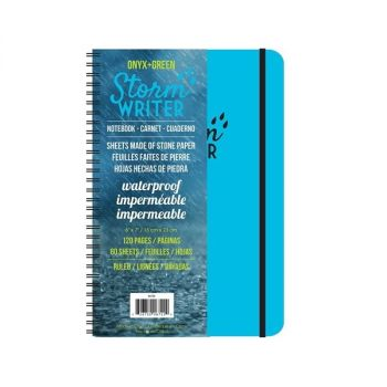 Onyx & Green Spiral Notebook, Water Tear And Stain Resistant, Storm Writer 60 Ruled Stone Paper Sheets, D2W Biodegradable Cover (6722)