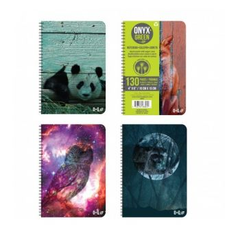 """Onyx & Green Spiral Notebook, 4""""X6"""", 65 Sheets, Ruled , Assorted Color (6801)"""