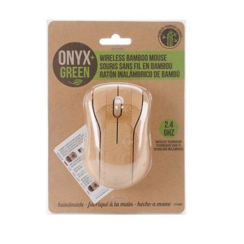 Onyx & Green Wireless Mouse, Made Of Bamboo, 2.4Ghz, Battery Operated, Eco Friendly (7600)