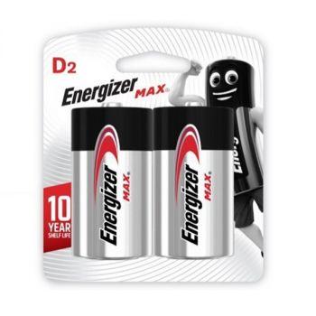 Energizer Max D2 Alkaline Batteries, 2 Pieces - 1.5 Volt
