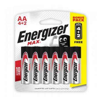 Energizer Max AA Alkaline Batteries, 4+2 Free - 1.5 Volt