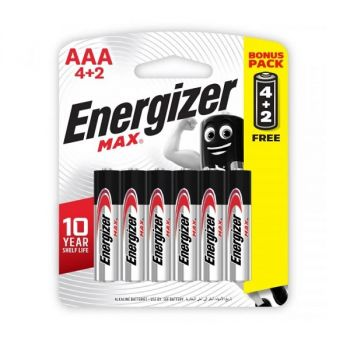 Energizer Max AAA Alkaline Batteries, Pack of 4 + 2 Free - 1.5 Volt