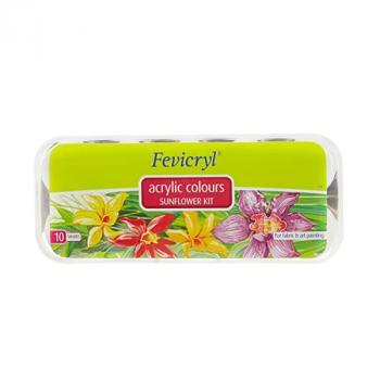 Fevicryl Acrylic Colors, Sunflower Kit, 10 Shades