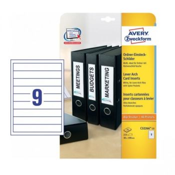 Avery Lever Arch Filing Inserts In A4 Sheet , 225 Labels Per 25 Pages