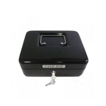 Cash Box 8 Inch With Key Lock Black