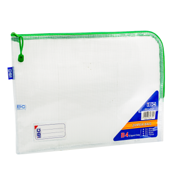 IBC B4 Mesh Single Zipper Bag Curved , Green, IBC-C57