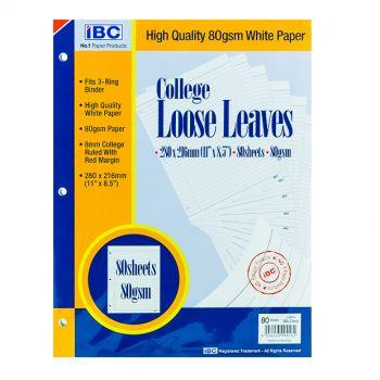 IBC College Loose Leaves 3-Holes 80 Sheets (LL80SH-3)