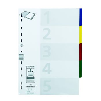 Durable - Plastic divider with 5 colours