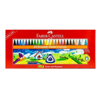 Faber Castell-Regular Crayons 25 Colors with Eraser