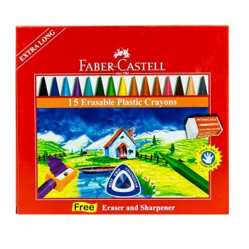 Faber Castell-Regular Crayons 15 Colors with Eraser
