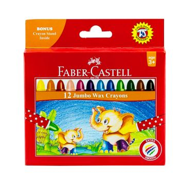 Faber Castell-Jumbo Wax Crayons 12 Colors