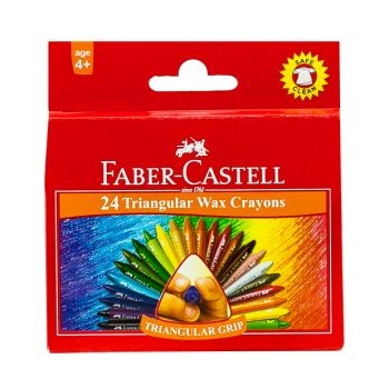 Faber Castell-Triangular Wax Crayons 24 Colors