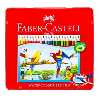 Faber Castell-Water Color Pen 24 Colors (Flat Tin)