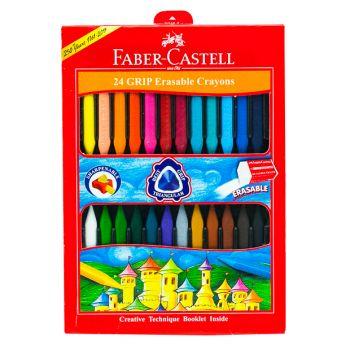 Faber Castell-Grip Erasable Crayons 24 Colors