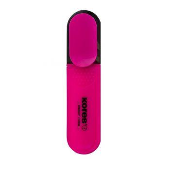 Kores Bright Liner Highlighter Pens, Chisel Tip , Pink