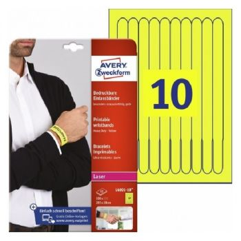 Avery Printable Wristbands, Yellow 100 Labels Per 10 Pages