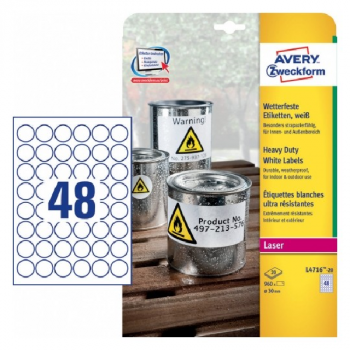 Avery Weatherproof Film Labels , 960 Labels Per 20 Pages