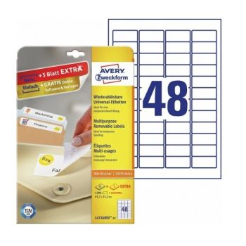 Avery Multipurpose  Removable Labels in A4 Sheet, 1200+240 Extra Labels per 30 Sheets