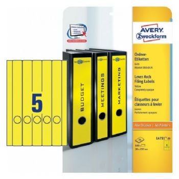 Avery Filing Labels In A4 Sheet 100 Labels Per 20 Pages, Yellow