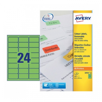 Avery Coloured Labels In A4 Sheet , 480 Labels Per 20 Pages, Green