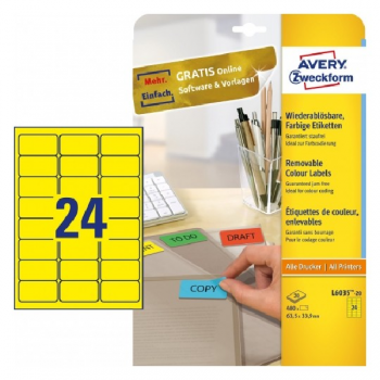 Avery Coloured Labels In A4 Sheet , 480 Labels Per 20 Pages, Yellow