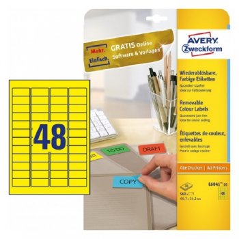 Avery Coloured Labels In A4 Sheet , 960 Labels Per 20 Pages, Yellow