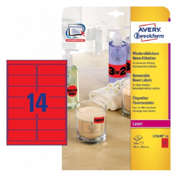 Avery Neon Red Labels , 350 Labels Per 25 Pages