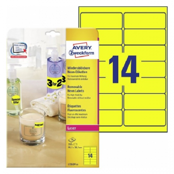 Avery Neon Yellow Labels , 350 Labels Per 25 Pages
