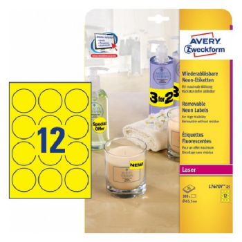 Avery Round Neon Yellow Labels , 300 Labels Per 25 Pages
