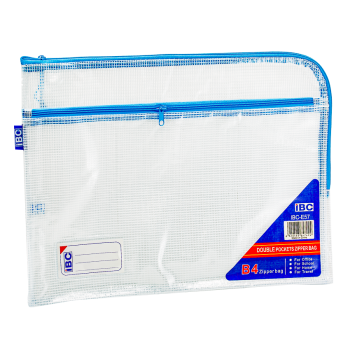 IBC Mesh Double Zipper Bag Curved , Light Blue, IBC-E57