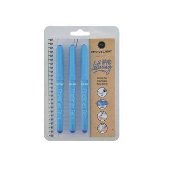 Manuscript Fineliner Pens Triple Pack-Blue, MT01133BE
