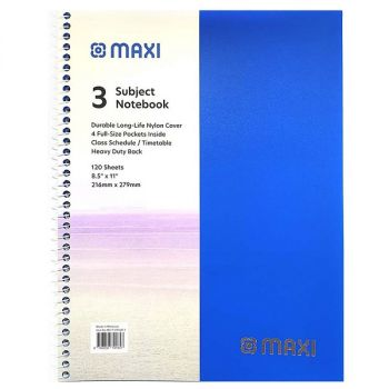 Maxi - 120 Sheets Spiral 3 Subjects Notebook