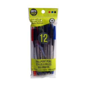 Onyx & Green Ball Pen Made From Recycled Plastic, Red, Blue, Black, Eco Friendly - 12 Pack (1000)