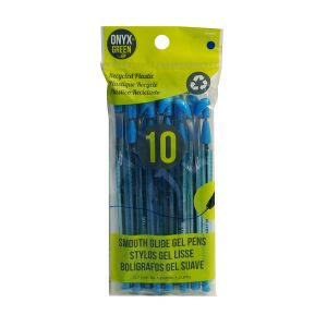 Onyx & Green Gel Pens Blue, Recycled Plastic, Eco Friendly - 10 Pack (1007)