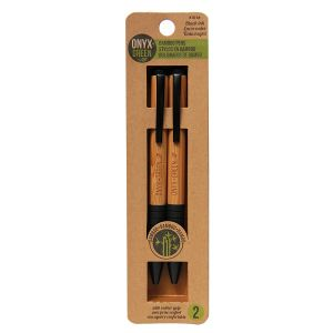 Onyx & Green Ball Pens Black With Rubber Grip, Retractable, Made From Bamboo And Natural Rubber, Eco Friendly - 2 Pack (1016)