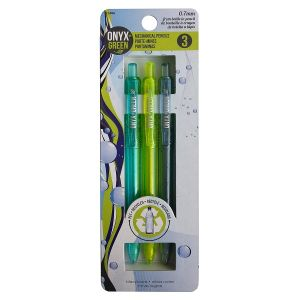 Onyx & Green Mechanical Pencil, Made From Recycled Pet (B2P) 0.7 Mm, Eco Friendly - 3 Pack (1406)