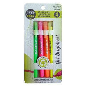 Onyx & Green Gel Highlighter Pens, 4 Colors, Made From Recycled Plastic -  (1808)