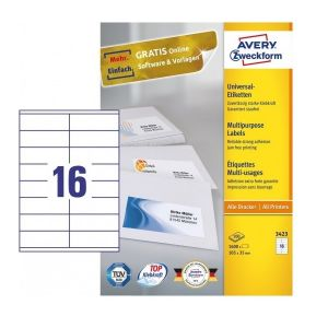 Avery Multipurpose Labels in A4 Sheet with ultragrip, 1600 Labels per 100 Page