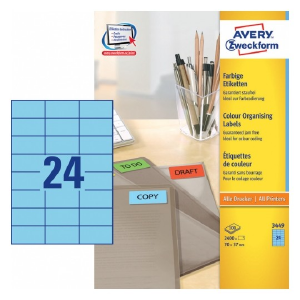 Avery Coloured Labels In A4 Sheet , 2400 Labels Per 100 Pages, Blue