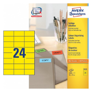 Avery Coloured Labels In A4 Sheet , 2400 Labels Per 100 Pages, Yellow