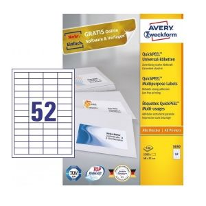 Avery Multipurpose Labels in A4 Sheet with ultragrip, 5200 Labels per 100 Page
