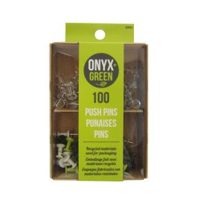 Onyx & Green Push Pins, Assorted Colors - 100 Pack (3901)