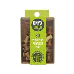 Onyx & Green Push Pins, Made From Bamboo - 30 Pack (3902)