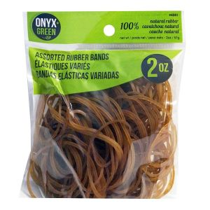 Onyx & Green Rubber Bands, Made From 100% Natural Rubber, Assorted Sizes,  2Oz (4201)