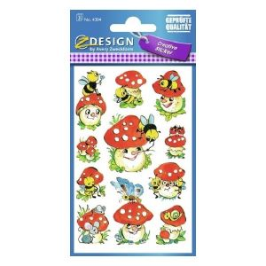 Avery Deco Stickers, Toadstools, 33 Sticker Per 3 Page