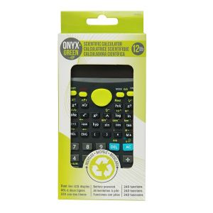Onyx & Green Scientific Calculator With 240 Functions, Battery Operated, Made With Recycled Plastic (4402)