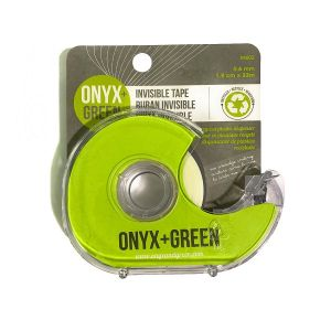 Onyx & Green Invisible Tape With Full Dispenser, 1.9Cm X 33Mm, Made From Recycled Plastic (4602)