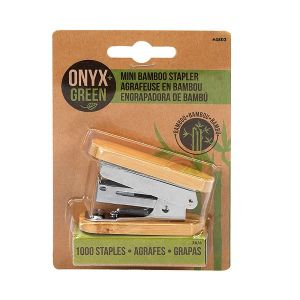 Onyx & Green Mini Stapler With 1000 Staples, Made From Bamboo (4803)