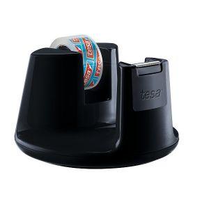 Tesa Easy Cut Tape Dispenser Compact (1 Roll, 10mx 15mm), Black