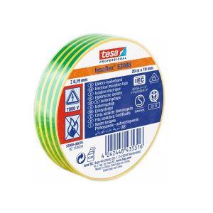 Tesaflex Professional Soft PVC Insulation Tape, 20mx19mm, Yellow/Green